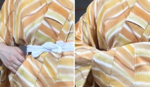 腰紐位置を変えてみたのですが・・・裾丈とおはしょりがかなり長くなってしまいまいます。